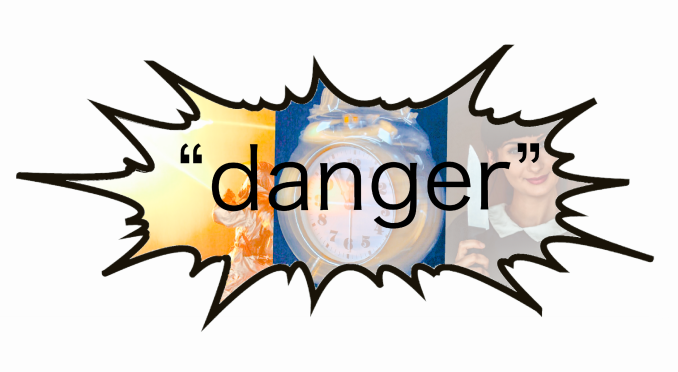 bubble with the word danger and dangerous images inside