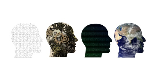 Set of four human head profiles with different fills: puzzle pieces, mechanical gears, computer code, and earth close up